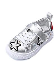 Girls' Sneakers Comfort PU Fall Winter Casual Outdoor Dress Comfort Imitation Pearl Magic Tape Flat Heel Black White Flat