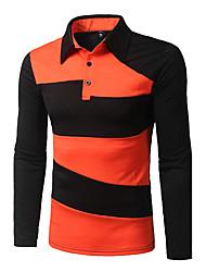 Для мужчин На каждый день Футболка Рубашечный воротник,Уличный стиль Полоски Длинный рукав,Полиэстер