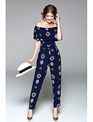 Women's High Rise Going out Casual/Daily Holiday Jumpsuits,Simple Sexy Slim Print Spring Summer