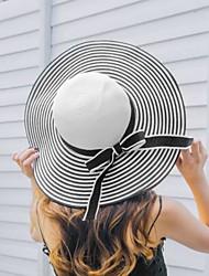 Femme simple Acrylique Paille Chapeau de soleil,Rayures Printemps Eté Couleur unie