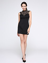 TS Couture Cocktail Party Prom Dress - Little Black Dress Sheath / Column High Neck Short / Mini Jersey with Lace