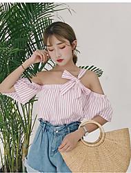 Tee-shirt Femme,Rayé Quotidien Décontracté simple Mignon Manches Courtes Une Epaule Coton Polyester