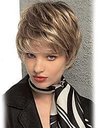Novel Fluffy  Side Bangs  Short  Human Hair Wigs  For Women