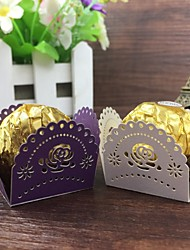 50ps Wedding Favors And Gifts For Guest Wedding Souvenirs Birthday Party Supplies Laser Rose Flower Candy Bar Chocolate Box Bar Supplies.