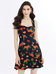 Women's Beach Going out Simple Cute A Line Dress,Fruit Sweetheart Above Knee Sleeveless Jacquard Spring Summer High Rise Micro-elastic
