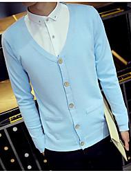 Standard Cardigan Da uomo-Quotidiano Casual Semplice Tinta unita A V Manica lunga Cotone Maglia Primavera Medio spessore Media elasticità