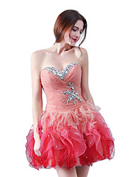 Cocktail Party Homecoming Dress Sheath / Column Strapless Short/Mini Organza with Cascading Ruffles