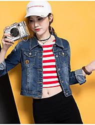 Women's Daily Casual Simple Summer Denim Jacket,Solid Shirt Collar Long Sleeve Short Linen