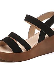 Women's Sandals Comfort Summer Suede Walking Shoes Casual Dress Sparkling Glitter Buckle Low Heel Wedge Heel Block Heel Black Khaki 5in &