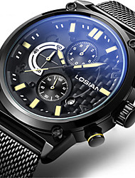 Men's Fashion Watch Wrist watch Quartz Calendar Water Resistant / Water Proof Noctilucent Stainless Steel Band Vintage Casual Black Silver