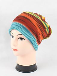 Women's Cotton Beanie Floppy Hat Headwear Cute Casual Modern Daily Knitwear Solid Fall Winter Rainbow Striped Cap Scarf Fuchsia/Orange/Blue