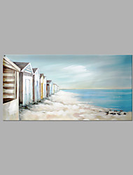 IARTS® Hand Painted Modern Abstract Little Lighter Blue Beach Hut  On Canvas with Stretched Frame Wall Art For Home Decoration Ready To Hang