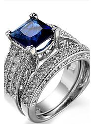 Per donna Struttura dell'anello Fedine Anello Zircone cubico StrassClassico Originale Geometrico Amicizia Personalizzato Rock