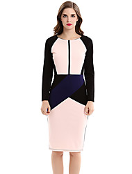 Womens Elegant Optical Illusion Patchwork Contrast 2017 Slim Casual Work Office Business Party Bodycon Pencil Dress