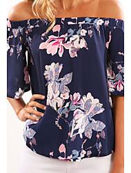 Damen Blumen Sexy Party T-shirt,Bateau Halbe Ärmel Andere