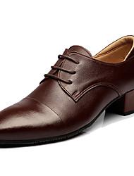 Men's Latin Real Leather Heels Professional Dark Brown