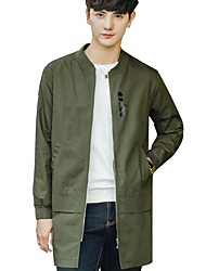 Men's Casual/Daily Simple Spring Fall Trench Coat,Solid Round Neck Long Sleeve Long Cotton