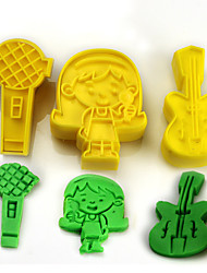 2017 New Arrival Set of 3 Guitar Microphone Music Symbols Cake Molds Music Party Cookie/Biscuit Cutter Fondant Cake Decorating Tools