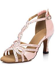 "Women's Latin Satin Heels Indoor Rhinestone Stiletto Heel Blushing Pink Black 3"" - 3 3/4"""