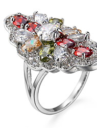 Ring Settings Ring  Luxury Elegant Noble Zircon Women's Oval Multicolor Rhinestone Euramerican Fashion Birthday Wedding Movie Gift Jewelry