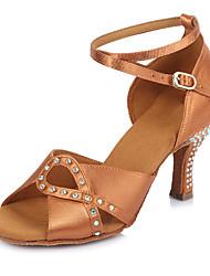2017 New Brand Modern Latin Sandals Customizable Women's Dance Shoes  Heeled 6.5CM shoes Satin Brown