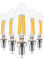 4W LED лампы в форме свечи C35 4 COB 300-400 lm Тёплый белый Диммируемая Декоративная AC 110-130 110 V 5 шт.