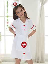 Girl's Fashion Short Sleeve White Angel Nurse Nurse Children Three-Piece Suit Scarf Hat (Hat embroidery random)