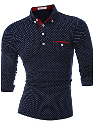 Men's Sports Casual/Daily Simple Active Spring Fall Polo,Polka Dot Shirt Collar Long Sleeve Cotton Thick