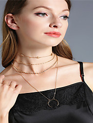 Women's Choker Necklaces Pendant Necklaces Chain Necklaces Dangling Style Euramerican Fashion Personalized Multi-ways WearRhinestone