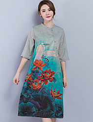 Women's Casual/Daily Loose Dress,Floral Print Round Neck Midi Short Sleeve Silk Summer Mid Rise Micro-elastic Thin
