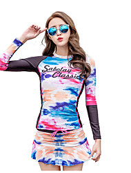 Female Diving Suit Split Long-Sleeved Tie-Dyed Pattern Snorkeling Sun Clothing Quick-Drying Surf Clothing Was Thin