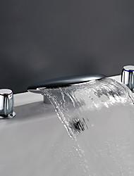 Contemporain Diffusion large Jet pluie with  Soupape en laiton Deux poignées trois trous for  Chrome , Robinet lavabo