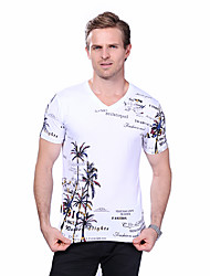 Men's Summer High Quality Fashion Printed V Neck Short Sleeve T Shirt Cotton /Spandex /Plus Size/ Casual/Daily