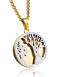Муж. Ожерелья с подвесками Круглой формы Титановая сталь Круглый дизайн Массивные украшения Бижутерия НазначениеДля вечеринок День