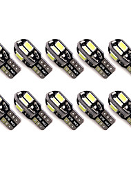 10pcs T10 8 SMD 5630 LED Canbus Error Free Auto Parking Lights W5W 8SMD LED Car Wedge Tail Side Bulbs Reading Lamps  DC12V