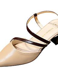 Women's Sandals Comfort Light Soles PU Summer Dress Comfort Light Soles Block Heel Light Brown Gray Beige 2in-2 3/4in