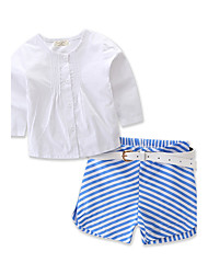 Girls' Fashion Stripe Solid Color Long Sleeve T-Shirt SetsCotton Spring/Fall Summer Stripe Short Pant Baby Clothing Set