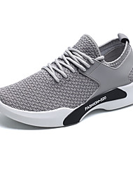 Men's Athletic Shoes Comfort Fall Winter Breathable Mesh Tulle Fabric Cycling Shoes Athletic Outdoor Lace-up Flat Heel Black Gray Flat