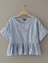 Damen Stickerei Einfach Alltag Normal T-shirt,Rundhalsausschnitt Kurzarm Baumwolle