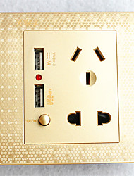 Type 86  USB*2 Power Outlet 2 Bit 3 Bit Switch  Golden Honeycomb