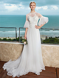 A-line High Neck Court Train Tulle Wedding Dress with Appliques by LAN TING BRIDE®
