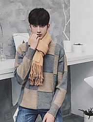 Standard Pullover Da uomo-Quotidiano Casual Semplice Griglia / Plaid Rotonda Manica lunga Cotone Maglia Primavera Autunno Medio spessore