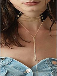 Femme Pendentif de collier Collier Y Bijoux Forme de Ligne Cuivre Tissu Gland Mode Personnalisé euroaméricains Bijoux PourSoirée Occasion