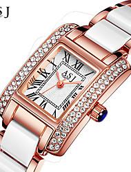 ASJ Mulheres Relógio de Pulso Bracele Relógio Japanês Quartzo Impermeável Lega Cerâmica Banda Brilhante Riscas Criativo Prata Ouro Rose