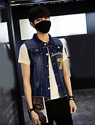 Men's Daily Casual Summer Denim Jacket,Solid Print Shirt Collar Sleeveless Regular Cotton