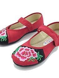 Women's Flats Comfort Spring Fall Fabric Casual Dress Flower Hook & Loop Flat Heel Black Ruby Flat