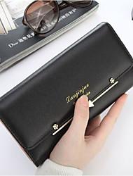 Women Checkbook Wallet PU All Seasons Casual Rectangle Magnetic Light Orange Fuchsia Black