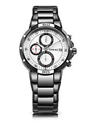 Men's Fashion Watch Quartz Stainless Steel Band Black Silver