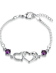Exquisite Silver Plated Purple Crystal Heart to Heart Chain & Link Bracelets Jewellery for Women Accessiories