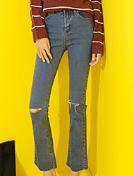 Women's High Waist Inelastic Jeans Pants,Simple Slim Solid